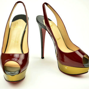Christian Louboutin Red Bordeaux & Gold Heels